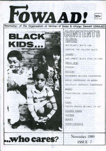 Newsletter of Organisation of African and Asian Descent. Picture of three young black children with the caption 'black kids who cares?'