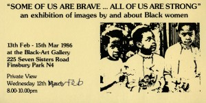 Poster for an exhibition about images of black women in Feb 1986