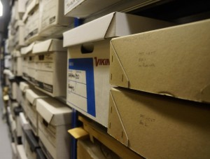 Shelf of box files labelled 'Pat VT West'