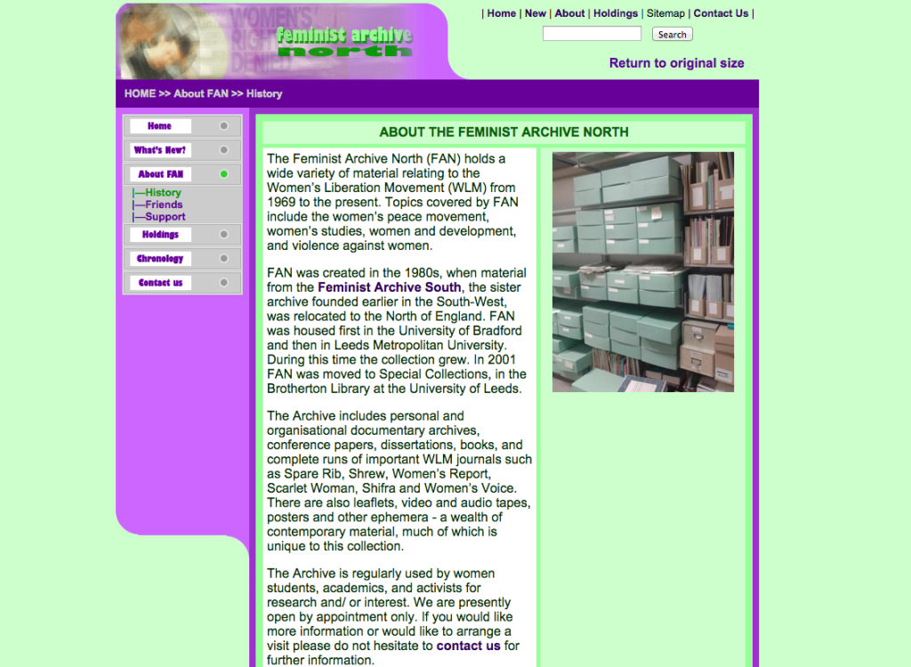 Feminist Archive North website. Description of the archive, picture of archive boxes and website menu.